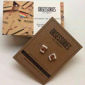 Whiskey Glass Earrings - Studs Handmade NWT